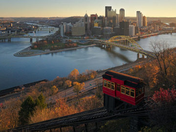 Downtown Pittsburgh from Duquesne Incline in the morning by Dllu via Wikimedia Commons
